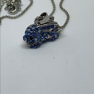 Light blue crystal rabbit pendant and chain
